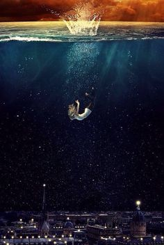 Falling into the ocean.
