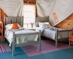 Bed by Maine cottage | Shutter Bed #mainecottage