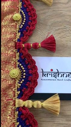 Customised Saree Kuchu & Pallu designs handcrafted to complement your precious silk sarees for celebrating your once in a life time events. Krishne's designer tassel kuchus are our premium offering that are crafted using a combination of handcraft techniques like Aari, Crochet, Hand Embroidery, Maggam, Zardozi etc and are in the price range of ₹ 500 ~ 6000. Click www.krishnetassels.com/tassels to see all the kuchu types, price range & whatsapp +91 9916253832 or to place your order.. Saree Kuchu New Designs, Saree Tassels Designs, Saree Blouse Neck Designs, Designer Blouse Patterns, Hand Embroidery Designs, Saree Wedding, Silk Sarees, Chiffon, Bandhini Saree