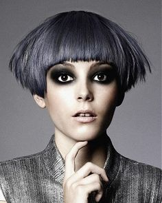 BLUNT   FRINGE  VISIT US FOR #HAIRSTYLES, ADVICE AND INSPIRATION WWW.UKHAIRDRESSERS.COM  Gooseberry - short grey straight hair styles (19066)