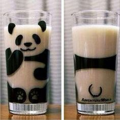 Cute panda glass...would look good with milk in it!. I want this !!! <3