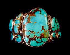 Universal 112g Vintage Navajo Sterling Silver Cuff Bracelet w SPECTACULAR Blue Gem Turquoise Free-Form Stones! Unbelievable Piece!
