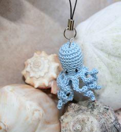 Crochet Blue Miniature Octopus Keychain Zipper Pull  by jspirik, $12.00