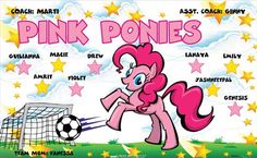 Pink Ponies B51831  digitally printed vinyl soccer sports team banner. Made in the USA and shipped fast by BannersUSA.  You can easily create a similar banner using our Live Designer where you can manipulate ALL of the elements of ANY template.  You can change colors, add/change/remove text and graphics and resize the elements of your design, making it completely your own creation.
