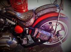 Leather seat, motorcycle seat, hand tooled leather seat, hand made seat, bobber seat, chopper seat, solo seat, tooled leather seat by misfit skinny kustoms