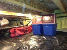 Crawl Space Storage - Hang good lighting, lay down tarps.