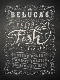 Restaurant chalkboard sign by Patrick Knowles, via Behance How To Write Calligraphy, Beautiful Calligraphy, Chalkboard Designs, Chalkboard Art, Typography Inspiration, Boards, Restaurant, Letters, Writing
