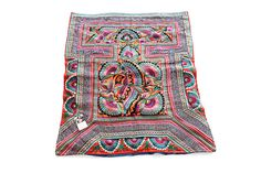 Bird Embroidered Vintage Baby Carrier HMONG Decoration Collector Textile Thailand (TX850.703)