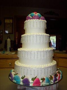 Strawberries and Bling wedding cake