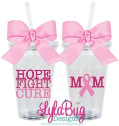 BREAST CANCER AWARENESS HOPE FIGHT CURE PERSONALIZED ACRYLIC TUMBLER LylaBug Designs