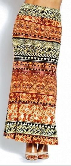 Tribal maxi skirt very flattering SZ  S M and by Foreverpeace