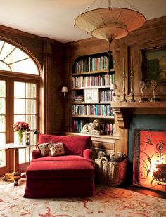 Home Library of dreams by Interior Designer Timothy Corrigan ( ).♥️ This cozy Library is the perfect escape after a long… Cozy Home Library, Library Room, Library Chair, Home Library Design, Library Ideas, Home Libraries, Cozy Fireplace, Fireplace Ideas, Library Fireplace