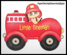 Premade Paper Pieced LIttle Fireman Boy for Scrapbook Pages-by Babs