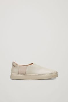 Slip-on leather sneakers - Beige - Shoes - COS GB Cos Shoes, Slip On Shoes, Beige Shoes, Shoes 2017, Plain Black, Contemporary Fashion, Leather Sneakers, Shoe Collection, Smooth Leather