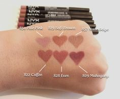 NYX Slim Lip Pencils in Pale Pink, Soft Brown, Nude Beige, Coffee, Ever and Mahogany Makeup Swatches, Drugstore Makeup, Nyx Lip Liner Swatches, Velvet Teddy Mac, Skin Makeup, Beauty Makeup, Grey Makeup, Hair Beauty, Dupes Nyx