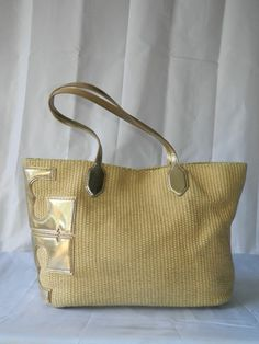 Tory Burch Stacked-T Straw Tote Bag Gold $295