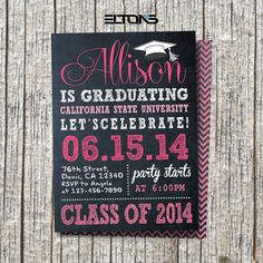 chalkboard double sided graduation invitation announcement custom college color and sign on etsy - Graduation Invitations Pinterest