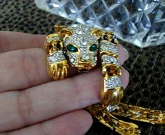 Exquisite Tiger Encrusted Hinged Bracelet by time2reflect on Etsy, $75.00