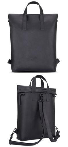 12a48653220d1 This black backpack from Expatrié is a simple  amp  functional bag for  everyday wear