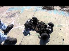 Axial's new EXO buggy - awesome!  Also an example of what can happen when you damage a LIPO battery - nothing like a total meltdown!