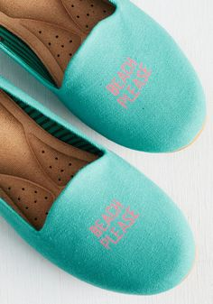 'To sea or not to sea', that is the question. These turquoise flats by Loly in sky say go for it! And, you're happy to oblige.Thoughts of cruising down the boardwalk in these woven loafers, which sport flexible uppers and cushioned insoles, always put the 'waves' in your brainwaves!