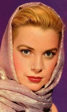 Grace Kelly wearing a head scarf - Golden Age of Hollywood