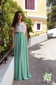 Blue Green Skirt, Chiffon Skirt, Long Skirt, Women Skirt, Fashion Skirt, Circle skirt, Loose skirt, Prom Skirt, Engagment Skirt, Party Skirt Ivory Lace Top, Wedding Skirt, Party Skirt, Chiffon Skirt, Skirt Fashion, Blue Green, Bridesmaid Dresses, Prom, Wedding Ideas