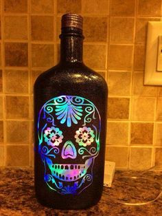 Sugar Skull color changing bottle lamp by CustomBottleDesign Sugar Skull Decor, Sugar Skull Art, Sugar Skulls, Wine Bottle Crafts, Bottle Art, Skull Color, Day Of The Dead Skull, Arts And Crafts, Diy Crafts