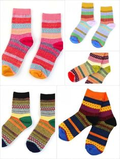 LOVE, LOVE, LOVE...Womens Fair Isle Geometric Jacquard Knit Ankle Cotton Socks  #SockWonderland #Casual FRESH COLORS!