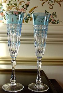 Varga Crystal Champagne Flute, Pair of Glasses Barcelona Sky Blue