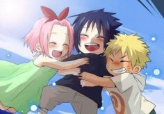 The name, Team 7 is too boring for the flamboyant group of friends, naruto, sasuke and sakura. Poor kakashi, he's going crazy because of his crazy students. Naruto Kakashi, Naruto Team 7, Naruto Shippuden Sasuke, Anime Naruto, Naruto Fan Art, Naruto Family, Naruto Sasuke Sakura, Naruto Cute, Otaku Anime