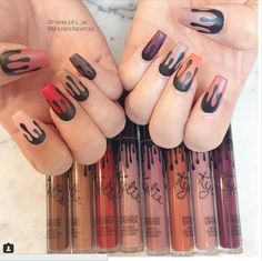 Show your love for the Kylie Lip Kits with this nail art.