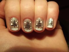 Winter Pine Tree Nails