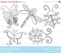 60% OFF SALE insect bugs digital stamp commercial use, vector graphics, digital stamp, digital images - DS328