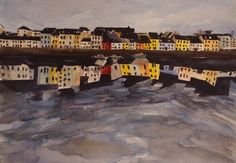 'The Long Walk - A Clear Day' by Fiona Concannon on ArtClick. Us Park, Fishing Villages, Watercolour Painting, House Colors, Giclee Print, Day, Artist, Ireland