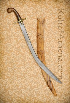 Damascus Turkish Kilij with Gold Inlay and all-wood scabbard