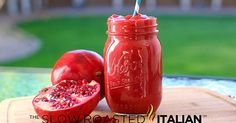serves 2 4 cups frozen strawberries 1 cup pomegranate juice 1 cup water juice of 1/2 fresh lemon Layer ingredients into blender in the or...