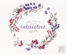 Watercolor wreath: hand painted floral wreath clipart / Wedding invitation clip art / berries / comm