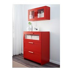 IKEA - BRIMNES, Wall cabinet with glass door, red, , Behind the panel doors you can keep your belongings hidden and free from dust.Adjustable shelves, so you can customize your storage as needed.You can choose to install the door to the right or left, according to what fits the space best.
