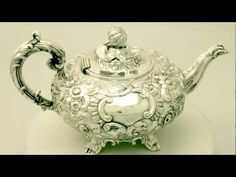 Video ... Sterling Silver Teapot - Antique Victorian - AC Silver W6201. More info here http://www.acsilver.co.uk/shop/pc/Sterling-Silver-Teapot-Antique-Victorian-49p4630.htm