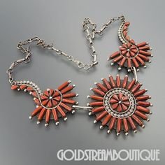 """NATIVE AMERICAN A. PINTO ZUNI STERLING SILVER RED CORAL CLUSTER FLORAL STATEMENT NECKLACE 20.5"""""""