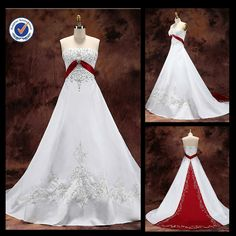 White Wedding Dresses with Red Accents   JM32 white and red wedding dress muslim bridal wedding dress(China ...
