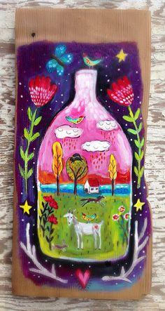 Folk Art Farmhouse Decor Wall Art on Etsy, $52.00