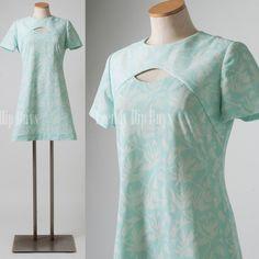 Mod Dress Vintage Blue Dress 60s Dress Mad men dress Mod mini dress Cut out dress - M/L