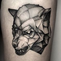 Maybe a dot work wolf. | 49 Bloody Brilliant Black And Grey Tattoo Ideas