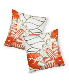Look what I found on #zulily! Orange Mod Floral Throw Pillow - Set of Two #zulilyfinds