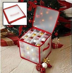 Christmas Decoration Storage Box 64 Baubles Ornament Holder 4 Layer Plastic Bag Christmas Tree Storage Bag, Bag Storage, Layers, Christmas Decorations, Gift Wrapping, Plastic, Ornaments, Box, Layering