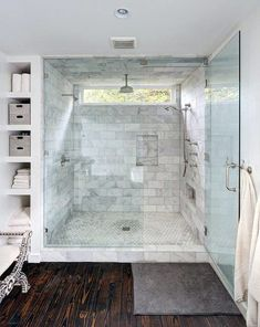 8 Endless Tips: Super Small Bathroom Remodel master bathroom remodel walk in. Small Bathroom With Shower, Master Bathroom Shower, Window In Shower, Large Bathrooms, Steam Showers Bathroom, Rain Shower, Shower Floor, Glass Shower, Wood Floor Bathroom