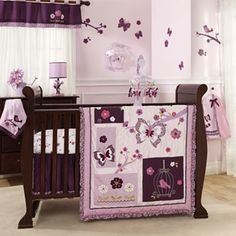 Possible option for Emily Bedding. Purple and Lavander Butterfly Bird Baby Girl Nursery Crib Flower Bedding Set Purple Crib Bedding Sets, Mini Crib Bedding, Baby Girl Bedding Sets, Baby Girl Nursery Themes, Nursery Crib, Crib Sets, Nursery Room Decor, Nursery Ideas, Room Ideas