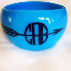 Chunky Monogrammed Bangle w/ Arrow by ThreeCKreations on Etsy, $8.00